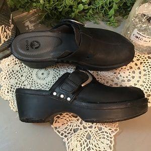 Comfy❤️Black Croc Faux Leather Clogs 7